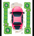 A topview of the parked pink car vector image vector image