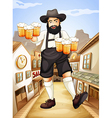 A waiter with glasses of cold beers vector image vector image
