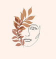 abstract minimalistic linear sketch female face vector image