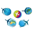 Airplane and air travel icons with globe vector image vector image