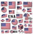 america flag set various shape element vector image vector image