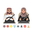 arab man and arab woman driving a car silhouette vector image
