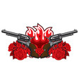banner with two old revolvers fire and red roses vector image vector image