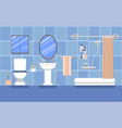 bathroom interior in blue in a flat style vector image