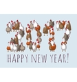 Big group sign chicken new year greeting card vector image vector image