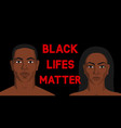 black man and woman black lives matter poster vector image vector image