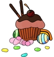 Cake with candy vector image