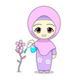 cartoons muslim women caring for plants daily vector image vector image