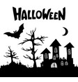 castle trees tombs crosses moon bat halloween vector image