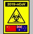 china and australia novel coronavirus 2019-ncov vector image vector image