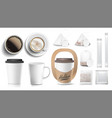 coffee packaging design cups mock up vector image vector image