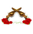 Crossed Guns With Roses vector image