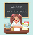 cute girl pupil student learn table books school vector image vector image