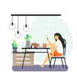 daily life young woman having breakfast at home vector image