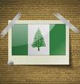 Flags Norfolk Islandat frame on a brick background vector image