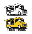 food truck emblem black and color on a white vector image vector image