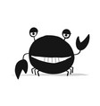 funny crab black silhouette for your design vector image vector image