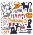 hand drawn halloween colorful doodles print vector image vector image