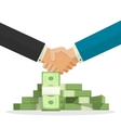 handshake near money pile vector image vector image