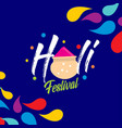 happy holi festival holi color drops with vector image