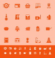 Home kitchen color icons on orange background vector image