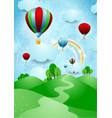 hot air balloons over the hills vector image
