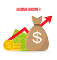 income growth return on investment flat style vector image vector image