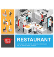 isometric restaurant cooking process composition vector image vector image