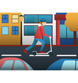 man riding on electric scooter in city vector image vector image