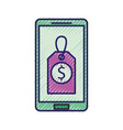 mobile phone price tag dollar symbol of money vector image
