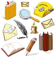 Office set reading writing communicating objects vector image vector image