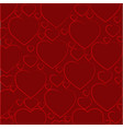 pattern of hearts on a dark red background vector image