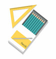 pencils in a box and ruler straightedge vector image