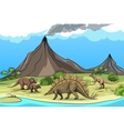 Prehistory with dinosaurs and volcano vector image vector image