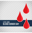 red blood drops world blood donor day vector image vector image