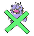 scared purple dragon and big green cross mark vector image vector image