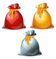 set colored pouches santa claus isolated on vector image vector image