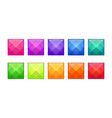set of fancy colorful modern faceted jewels vector image