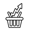 shopping basket with arrow up line style vector image vector image