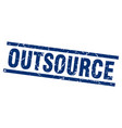 square grunge blue outsource stamp vector image vector image