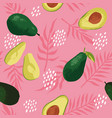 summer pattern with avocado flowers and leaves vector image
