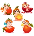 Sweet fairies with apple orange tomato and vector image