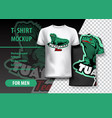 t-shirt mockup with tuataras phrase in two colors vector image
