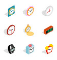 Time equipment icons isometric 3d style vector image