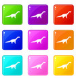 titanosaurus dinosaur icons 9 set vector image vector image