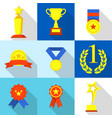 top prize icons set flat style vector image vector image
