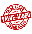 value added round red grunge stamp vector image vector image