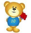 Bear boy cartoon hide a bouquet of flower vector image