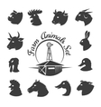 Farm animal meat icons vector image
