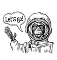monkey in astronaut suit smiles and waves his hand vector image